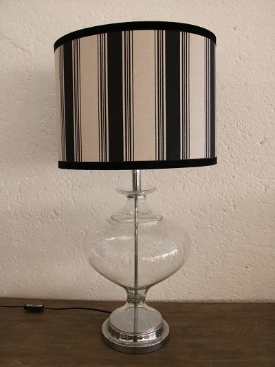 Glass lamp base with black and cream shade