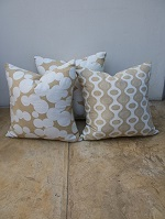 3 Linen cushions with cotton applique