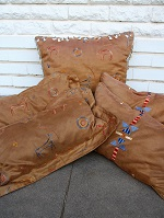 Tan suede cushions