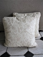 Pair of Cream crewel cushions