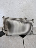 Pair of small grey check cushions