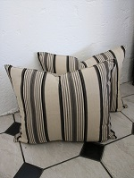 Pair of new black and cream stripe cushions